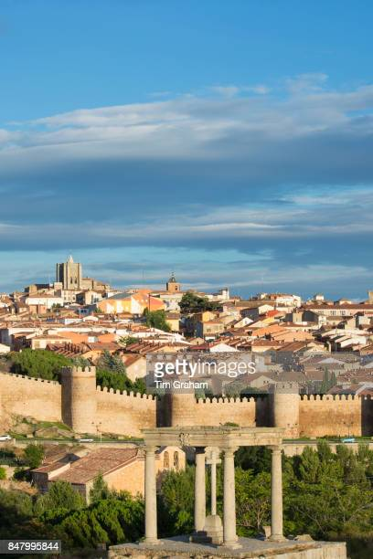 Four Posts Los Cuatro Postes and town of Avila with ExtraMuros churches and medieval city walls UNESCO World Heritage Site Spainnnn