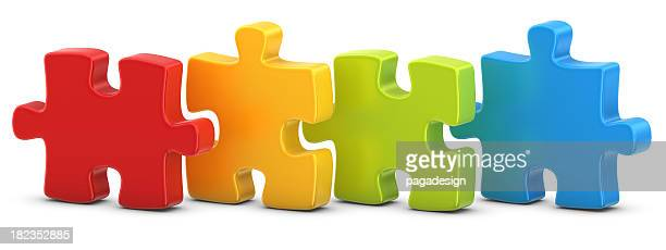 four puzzles - jigsaw piece stock pictures, royalty-free photos & images