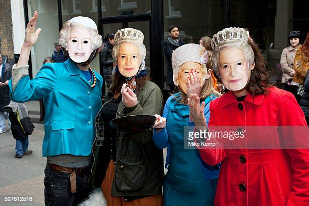 Four queens at the Great Spitalfields Pancake Race on Shrove Tuesday pancake day at the Old Truman Brewery London UK This is a fun quirky annual...