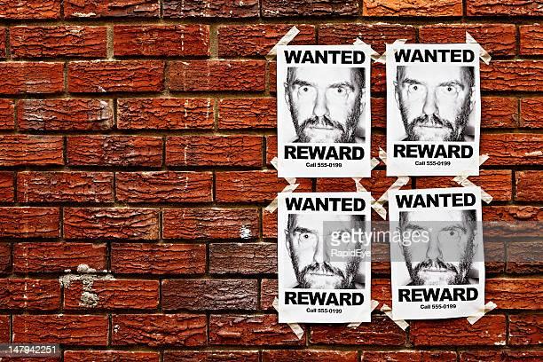 """Quatre """"avis'affiches de recherche homme effrayant scellées pour mur"""