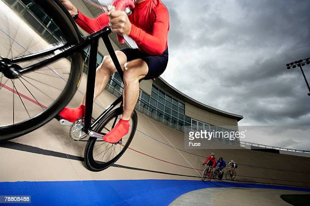 Four Racing Cyclists on Velodrome