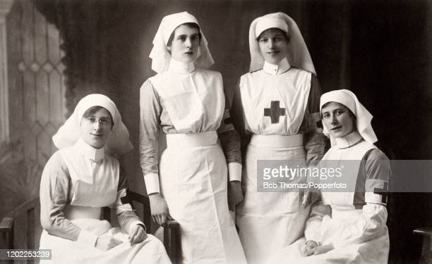 Four Red Cross nurses during World War One, circa 1916.