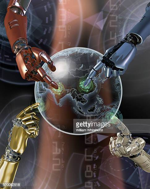 Four Robotic Hands Selecting Points on Globe