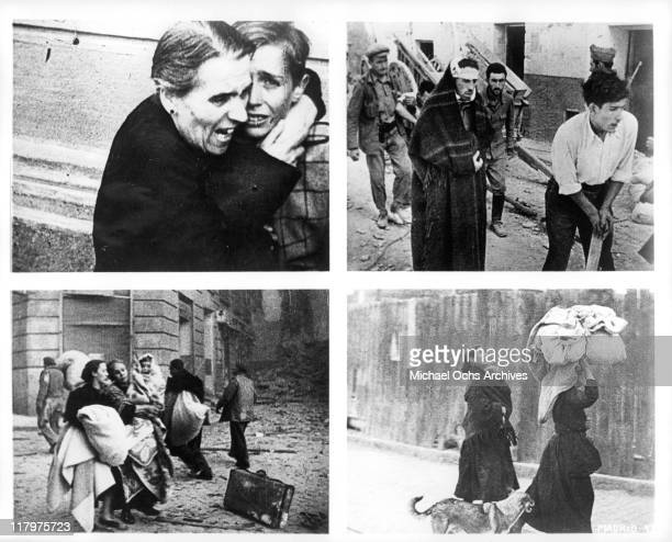 Four scenes of civilians from the film 'To Die in Madrid' a.k.a. 'Mourir a Madrid', 1965.