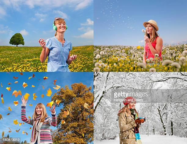 four seasons of woman playing outdoors - jahreszeit stock-fotos und bilder