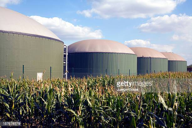 Four silos in a biogas plant