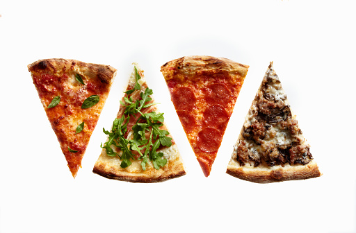 Four Slices of Pizza with Variety of Toppings - gettyimageskorea