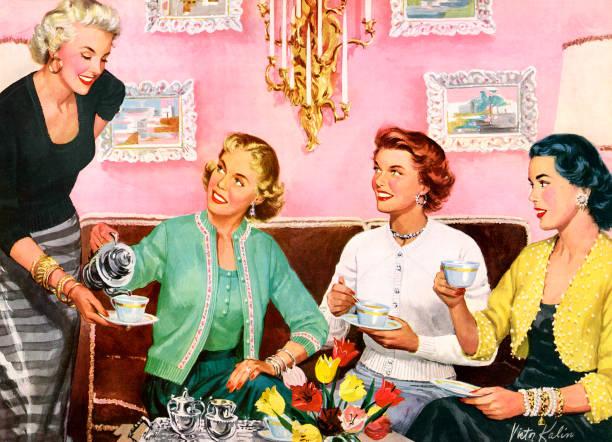 Four Housewives Having Tea Wall Art