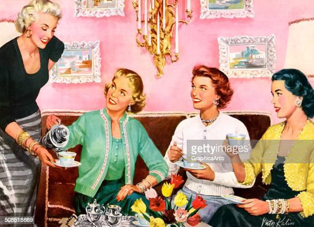 Four smiling suburban American housewives having tea 1953 Screen print