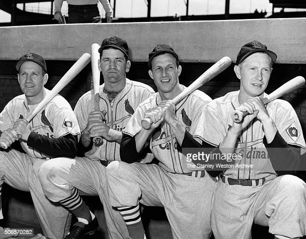 Four St Louis Cardinal sluggers Left to Right Enos Slaughter Wally Westlake Stan Musial and Red Schoendienst who will see action with the National...