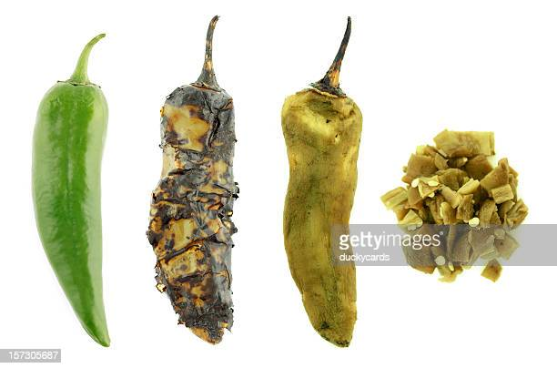 four stages of a green chile - green chili pepper stock pictures, royalty-free photos & images
