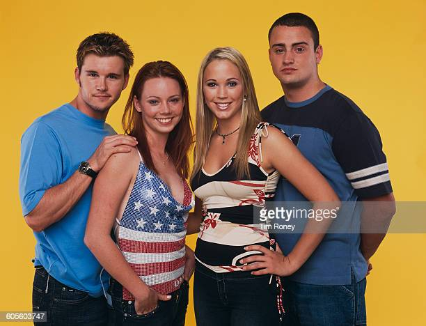 Four stars of the Australian television soap opera 'Home and Away', June 2001. From left to right, Ryan Kwanten, Kimberley Cooper, Rebecca Cartwright...