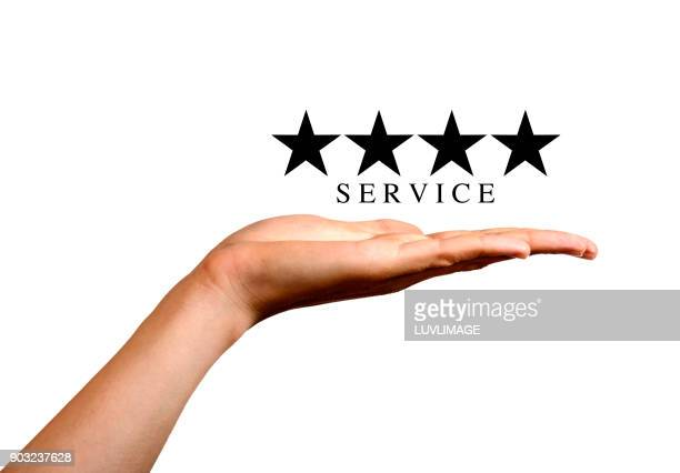 four stars service. - palm of hand stock pictures, royalty-free photos & images