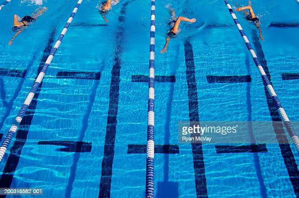 Four swimmers racing  pool, elevated view