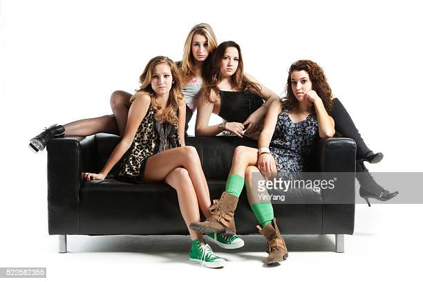 Four Teen Models with Black Sofa on White Background Hz