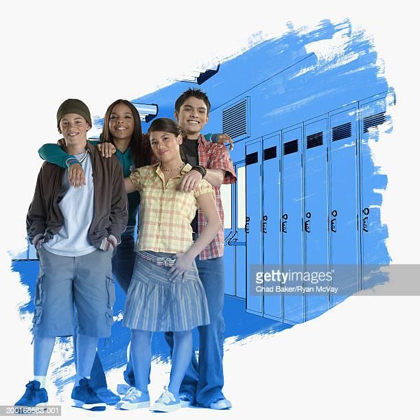 Four teenagers (13-15) standing in school corridor, smiling, portrait