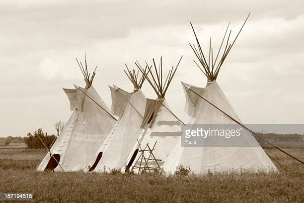 four teepees - saskatchewan stock pictures, royalty-free photos & images