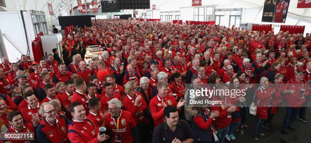 Four thousand Lions fans pack into the Lions Den Suppoters Village prior to the Test match between the New Zealand All Blacks and the British Irish...