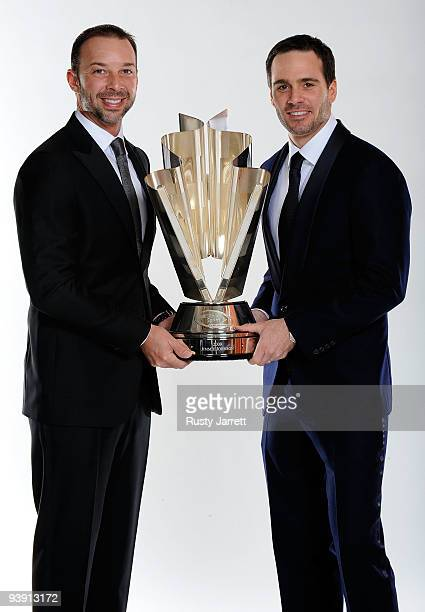 Four time NASCAR Sprint Cup Series Champion Jimmie Johnson and crew chief Chad Knaus pose before the NASCAR Sprint Cup Series awards banquet during...