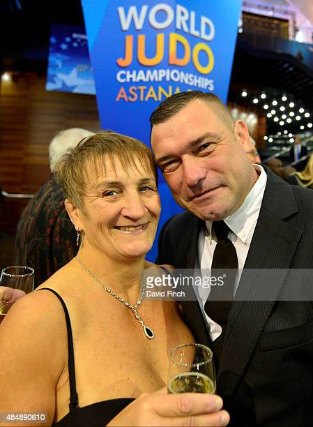 Four times World champion Karen Inman and her husband Peter pose together before Karen received the Hall of Fame framed document during the 2015...