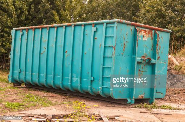 four ton green steel waste container - skipping along stock pictures, royalty-free photos & images
