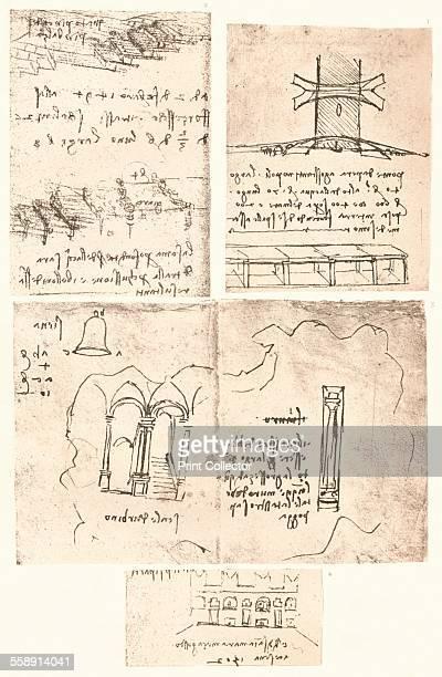 Four topographical drawings c1472c1519 Constantinople Vigevano Siena Urbino Cesena From The Literary Works of Leonardo Da Vinci Vol II by Jean Paul...