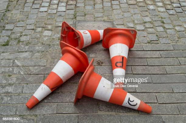 four traffic cone - cone shaped objects stock pictures, royalty-free photos & images