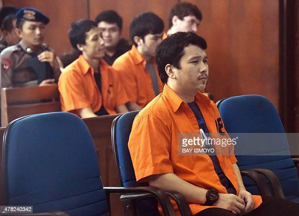 Four Turks, suspected to be linked to the jihadist Islamic State group, attend a trial at North Jakarta court on June 24, 2015. The four Turkish...