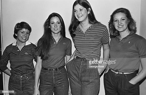 Four UCLA students model the latest in college 'preppie' fashion in this 1980 West Los Angeles California photo