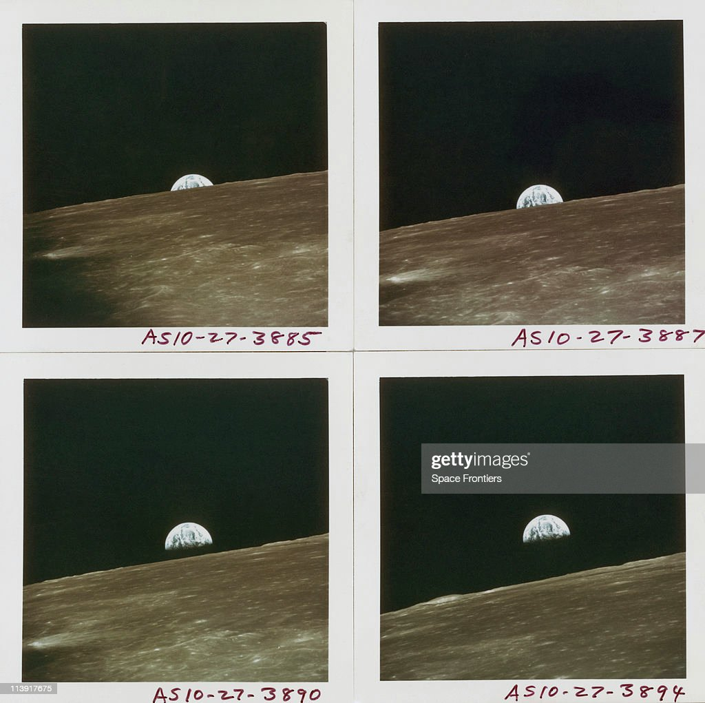 Four views of Earth rising above the lunar horizon, photographed by the crew of the Apollo 10 Lunar Module, while in lunar orbit, May 1969.