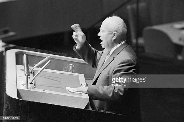 Four views of Soviet Premier Nikita Khrushchev as he delivered his fist-waving, shouting speech before the U.N. General Assembly late October 11th....