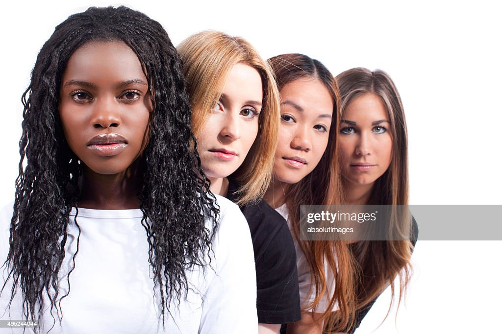 Four woman with different derivation : Stock Photo