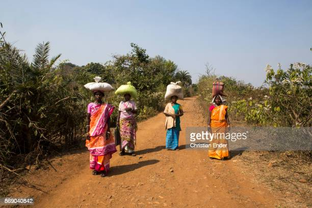 Four women are walking down a dirt road carrying big bags on their heads near the village Satia a small settlement 300 Kilometer from Kolkata