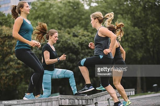 Four women having an outdoor workout