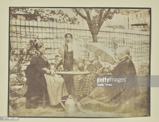 Four women seated outdoors; Hippolyte Bayard ; about 1840–1849; Salted paper print; 12.9 × 16.5 cm .