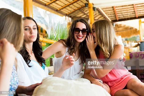 Four Women Sharing Secrets, Summer Vacations, Beach Coctail Club, Europe