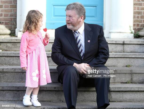 Four year old Katelyn Rose Downey and Health Minister Dr James Reilly help launch the Oesophageal Cancer Fund Lollypop Day at Buswells Hotel in...