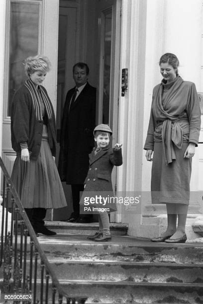 Four year old Prince William waves at onlookers before his first day at Wetherby School in Notting Hill Gate, London. He is watched by his mother the...