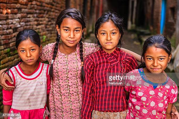 Four young Nepali girls in Bhaktapur