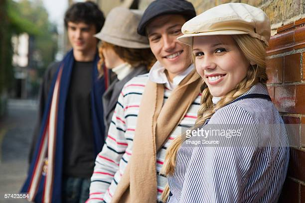 four young people in street - heterosexual couple stock pictures, royalty-free photos & images