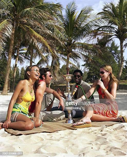 four young people on beach near palm trees, woman holding hooka pipe - hookah stock pictures, royalty-free photos & images