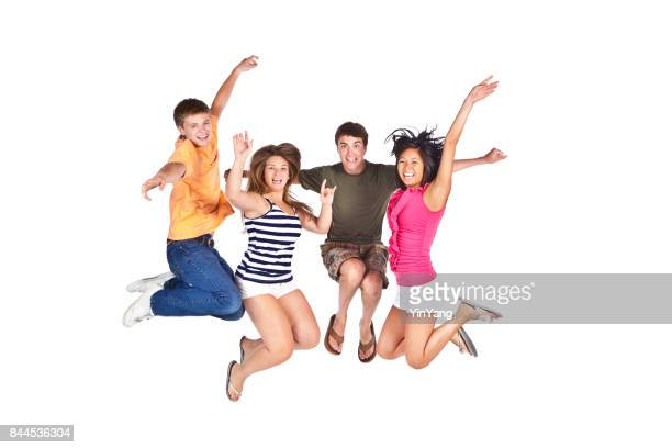 Four Young Teenage Boys and Girls Playing Together on White Background