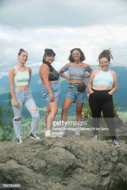 Four Young Women On Mountian Top