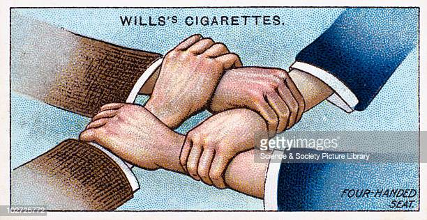FourHanded Seat' Wills' cigarette card 1913 One of a series of 50 'First Aid' cigarette cards issued by WD HO Wills The image shows the hands and...