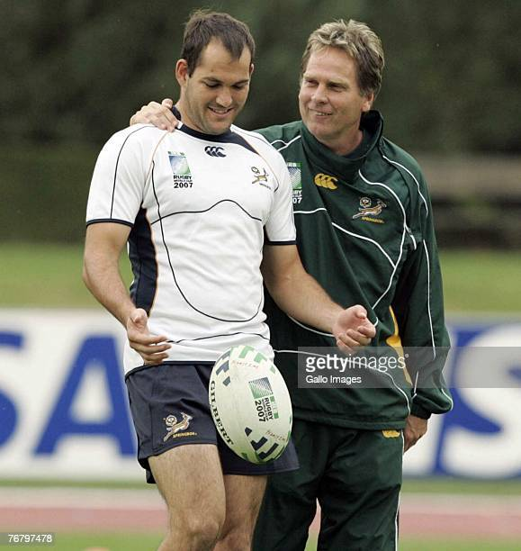 Fourie du Preez and Henning Gericke during the Springboks field training session held at Noisy le Grande Stadium on September 17 2007 in Noisy le...