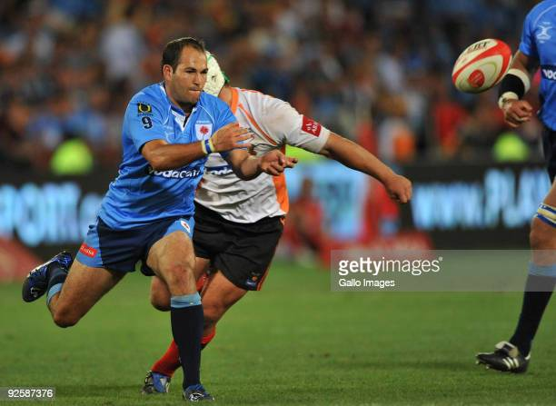 Fourie du Preez of the Bulls gets his pass away during the Absa Currie Cup match between Blue Bulls and Free State Cheetahs from Loftus Versfeld on...