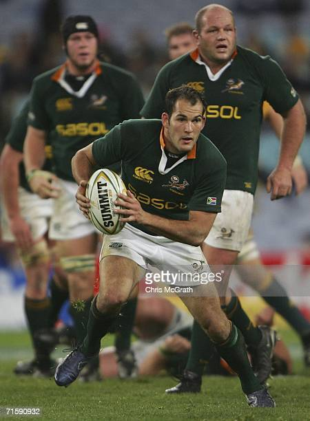 Fourie Du Preez of the Springboks makes a break during the Tri Nations series second Mandela plate match between Australia and South Africa played at...