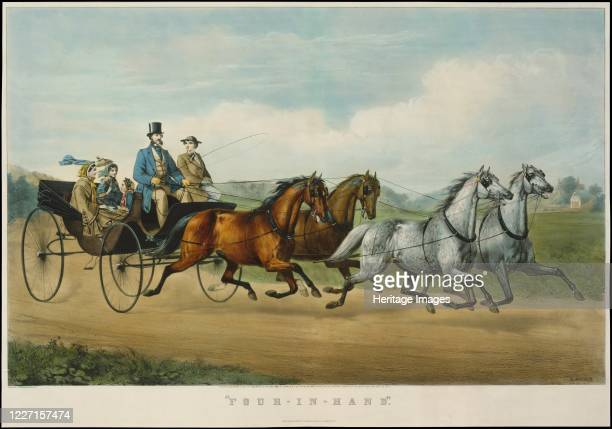 Four-in-Hand, 1861. Artist Nathaniel Currier, James Merritt Ives, Currier and Ives.