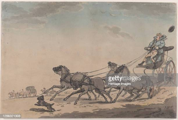 Four-in-Hand, or The Runaway Carriage, 1791-93. Artist Thomas Rowlandson.