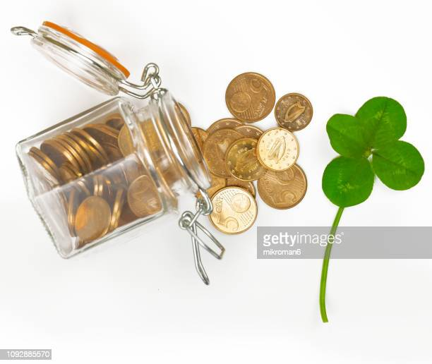 Four-Leaf Clover and euro coins. Good Luck